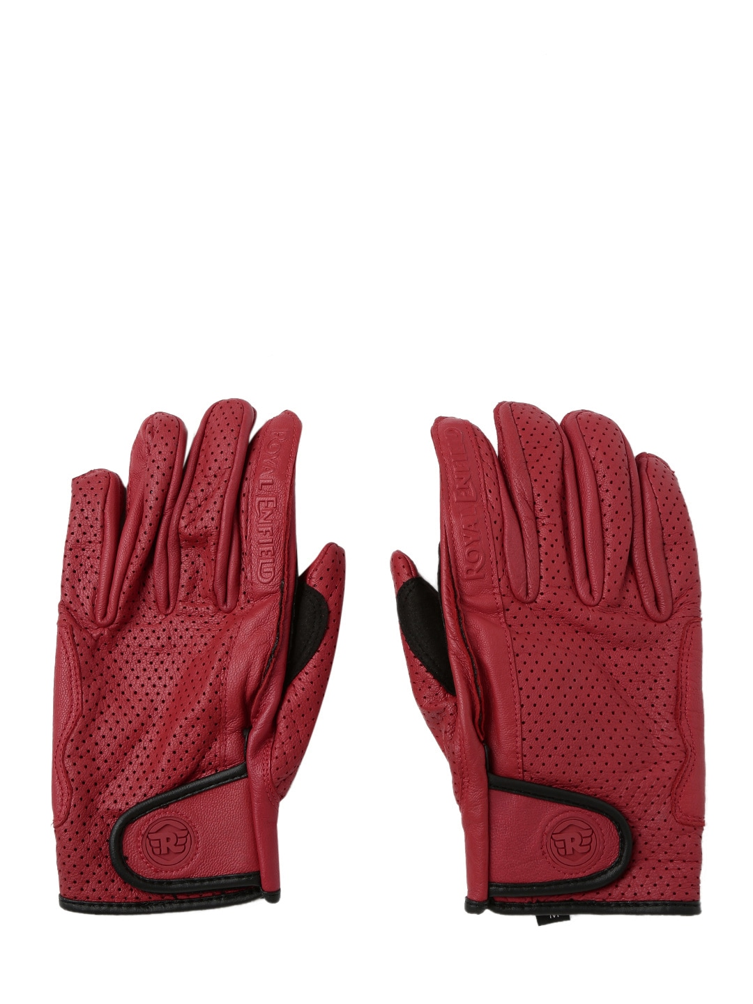 Motorcycle gloves online india - Royal Enfield Unisex Red Leather Summer Riding Motorcycle Gloves