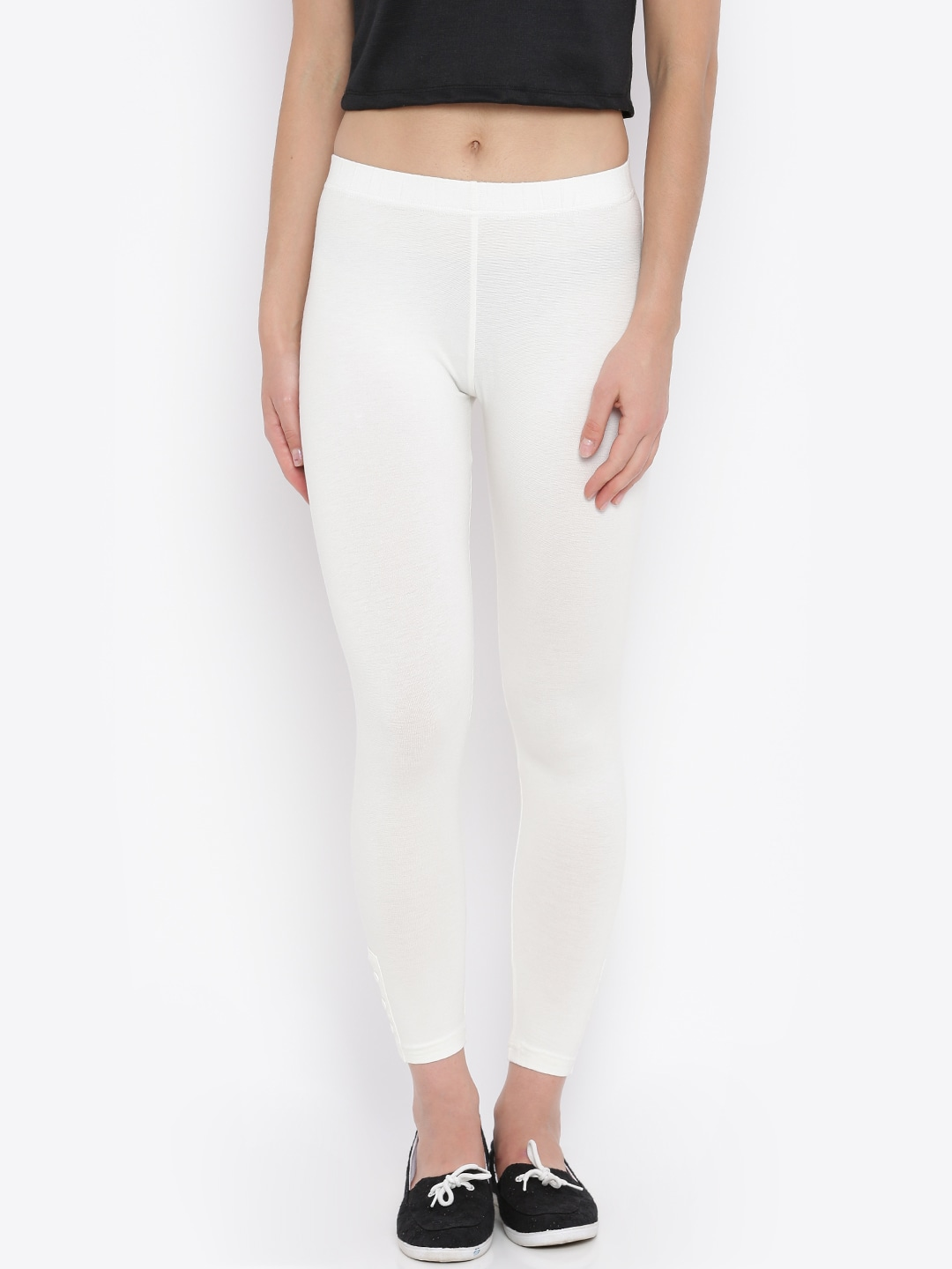 Buy AND Off White Ankle Length Leggings - Leggings for Women | Myntra