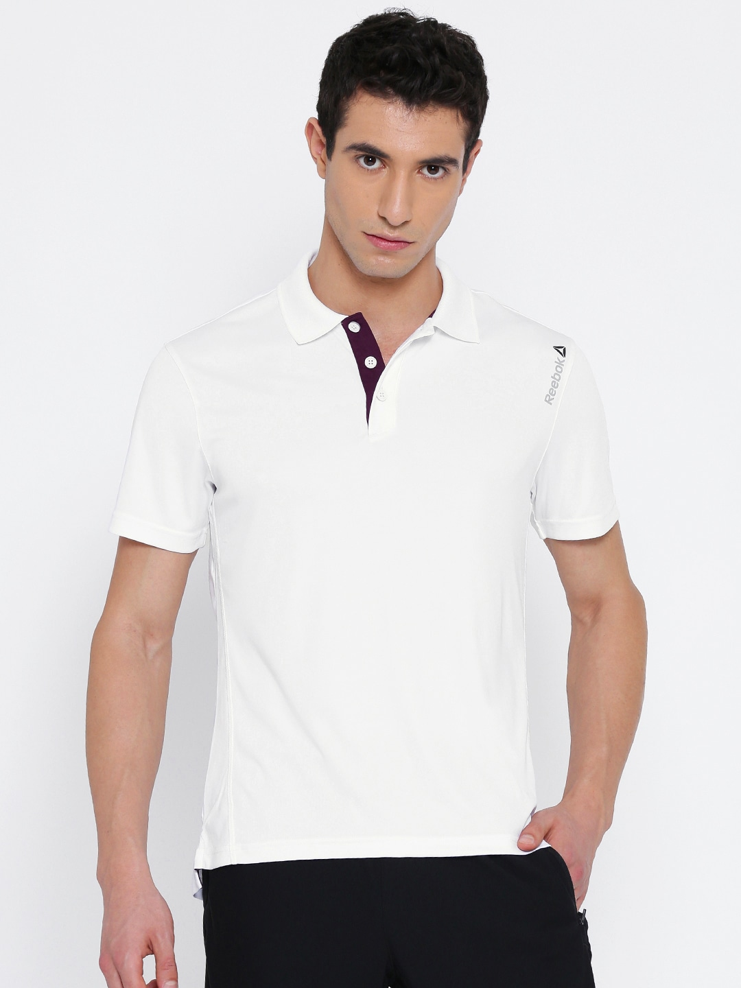 Design your t shirt myntra - Reebok Men White Core Solid Polo Collar Slim Fit T Shirt