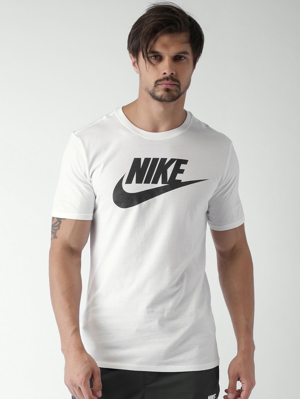 Design your t shirt myntra - Nike Men White Printed Round Neck T Shirt