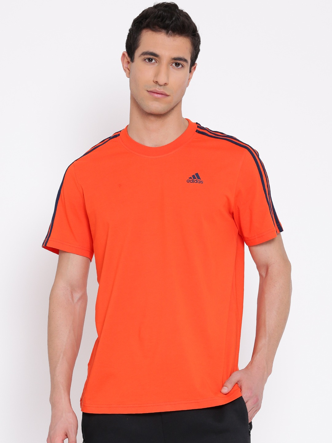 Design your own t shirt india cash on delivery - Adidas Men Orange Ess 3s Solid Round Neck T Shirt