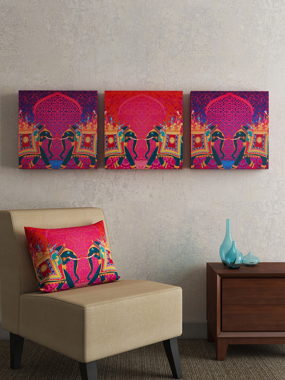 sej by nisha gupta purple pink set of 3 folk framed wall paintings - Home Decor Products
