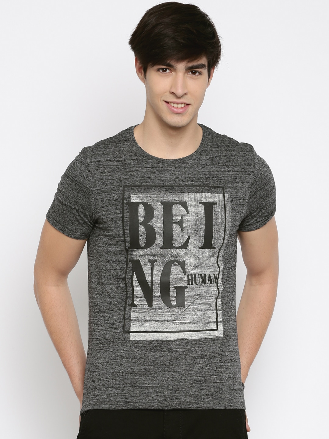 Design your own t shirt india cash on delivery - Being Human Men Grey Self Design Round Neck T Shirt