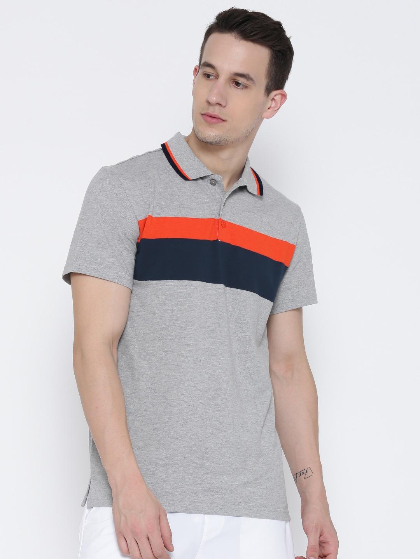 Design your t shirt myntra - Adidas Men Grey Melange Tp Yd St 2 Striped Polo Collar T Shirt