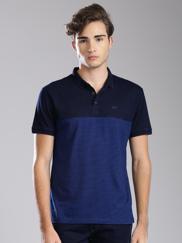 Design your t shirt myntra - Levis Men Blue Striped Polo T Shirt