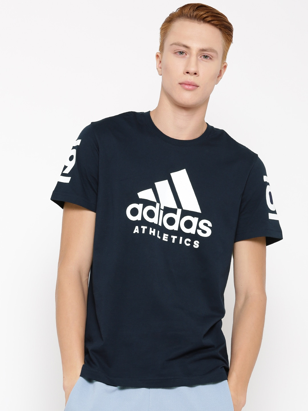 Design your own t shirt india cash on delivery - Adidas Men Navy 360 Printed Round Neck T Shirt
