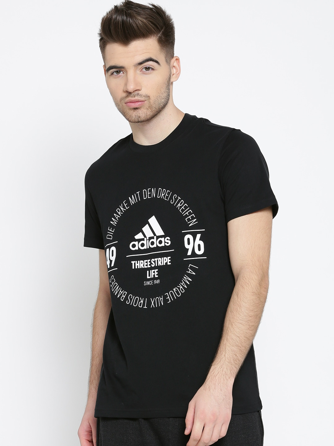 Design your own t shirt india cash on delivery - Adidas Men Black Logo Printed Round Neck T Shirt