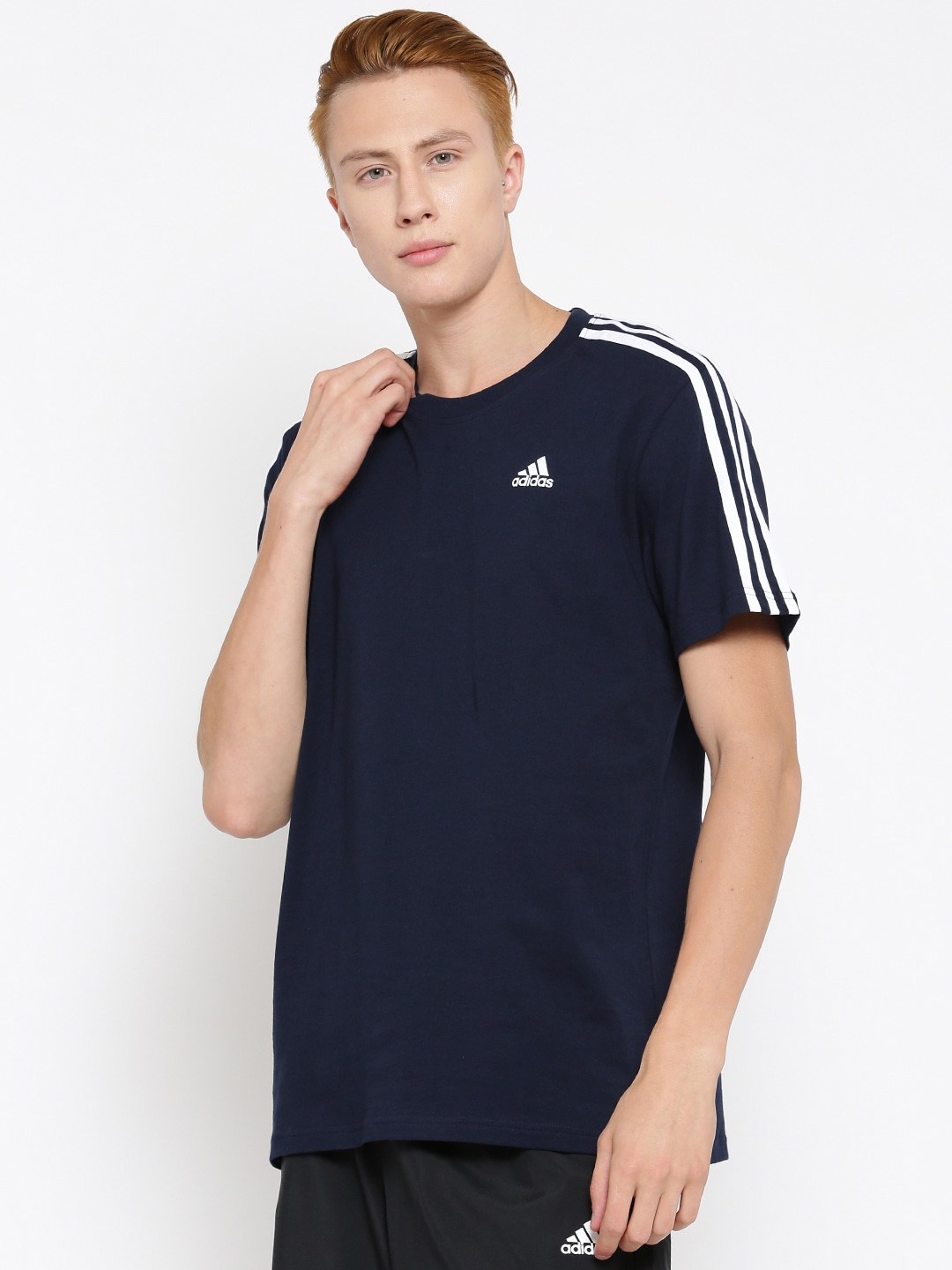 Design your own t shirt india cash on delivery - Adidas Men Navy Blue Ess 3s Solid Round Neck T Shirt