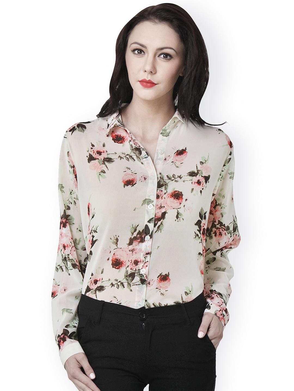 Design your t shirt myntra - Purys Women Beige Floral Printed Shirt