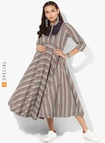 bce5189bde0 Sangria Multicoloured Printed Band Collar Anarkali With Button Placket  Detail And 3/4 Rolled Up