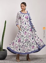 5953f55b4c0 Sangria 3/4 Sleeves Printed Anarkali for women price in India on ...