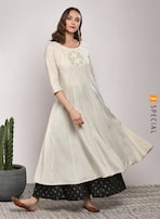 3adc285f039 Sangria Round Neck 3/4 Sleeve Embroidered Anarkali With Printed Palazzo