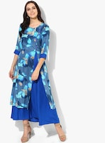 442fd373c39 Shree Blue Coloured Printed Maxi Dress for women price in India on ...
