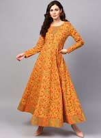 29e329f83f5 Aks Mustard Yellow Printed Maxi Dress for women price in India on ...