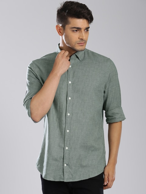 fbc1e232f Buy Tommy Hilfiger Green Checked New York Fit Casual Shirt - Shirts for Men  | Myntra