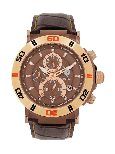 buy u s polo assn men brown dial chronograph watch usat0127 buy u s polo assn men brown dial chronograph watch usat0127 watches for men myntra
