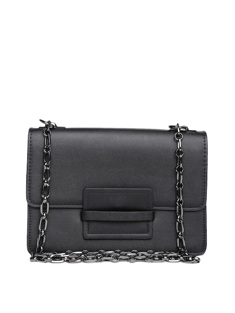 Buy MANGO Women Black Sling Bag With Chain Strap - Handbags for ...