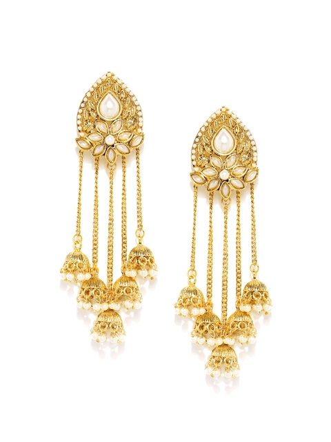 Get upto 70% off on Fashion & Accessories Sukkhi Red Gold-Plated Beaded Drop Earrings