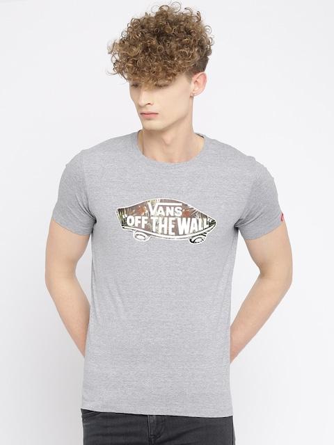 e8531e44feb3 Vans Men Grey Melange Printed T shirt Vans Tshirts available at Myntra for  Rs.839