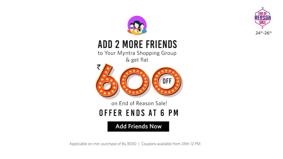 Rs 600 off offer for Myntra Shopping Groups | 2pm to 6pm on 22nd June 2017